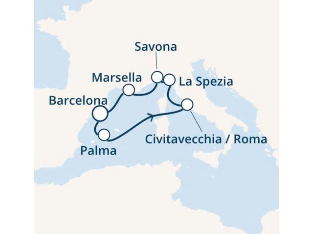 crucero-España, Islas Baleares, Italia, Francia con el Costa Smeralda