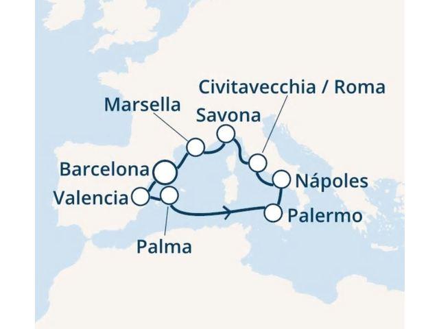 crucero-España, Islas Baleares, Italia, Francia con el Costa Fortuna
