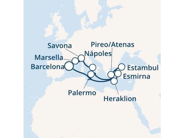 crucero-España, Grecia, Turquía, Italia, Francia con el Costa Fortuna