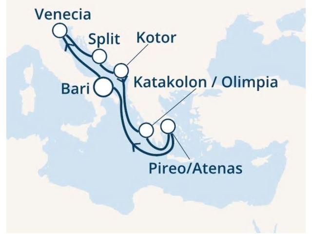 crucero-Italia, Croacia, Montenegro, Grecia con el Costa Deliziosa