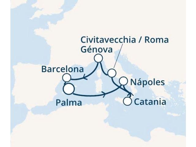 crucero-Islas Baleares, Italia, España con el Costa Pacifica