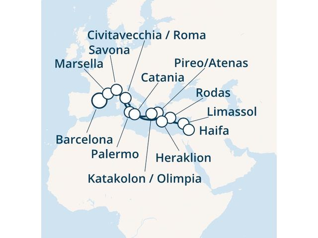 crucero-España, Francia, Italia, Grecia, Chipre con el Costa Magica