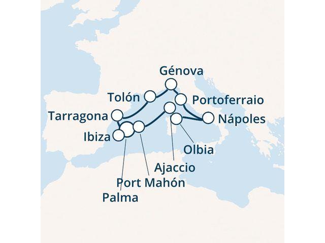 crucero-Islas Baleares, Córcega (Francia), Italia, España con el Costa Victoria