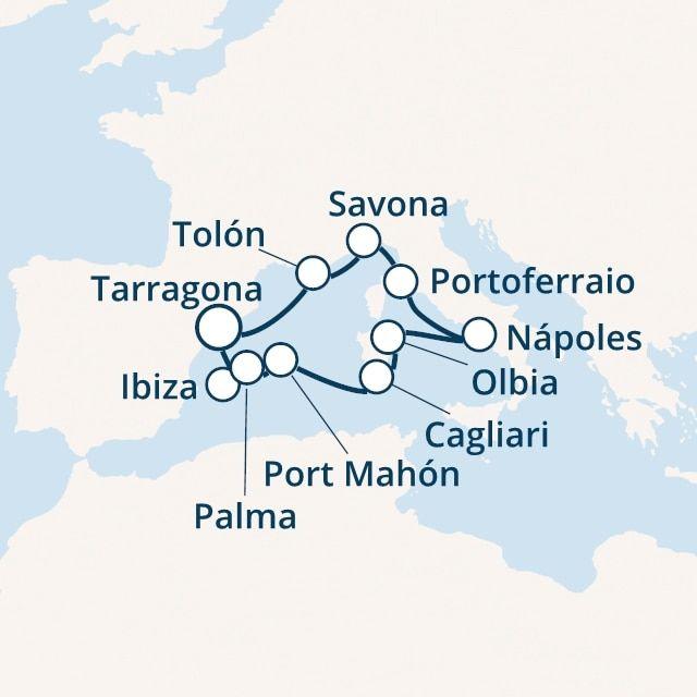 crucero-España, Islas Baleares, Italia, Malta con el Costa Victoria
