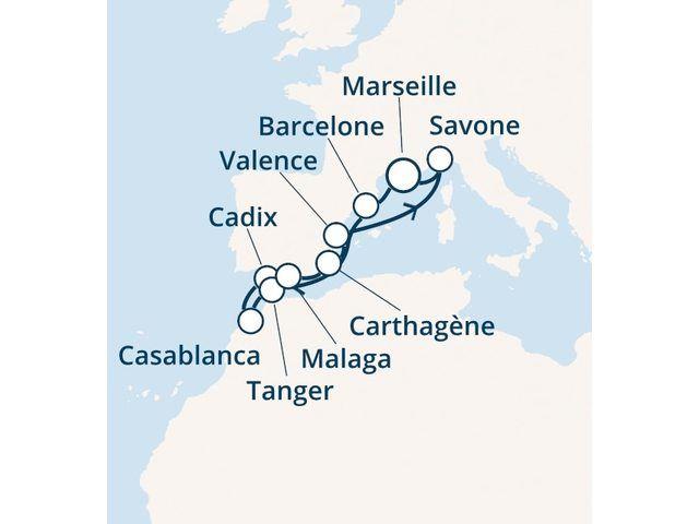 France, Espagne, Maroc, Italie avec le Costa Favolosa