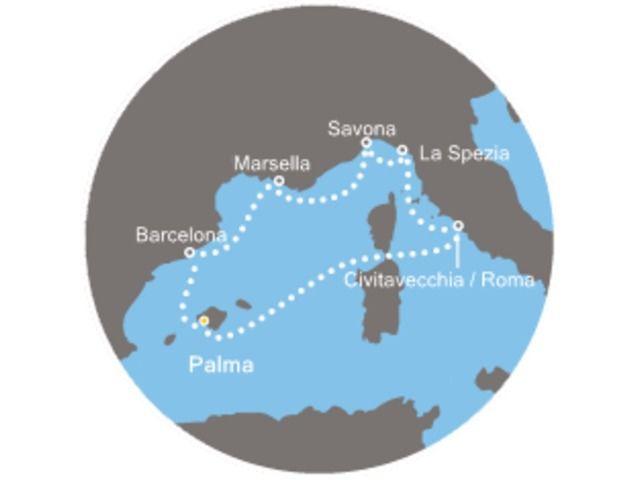 crucero-Islas Baleares, España, Francia, Italia con el Costa Victoria