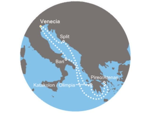 crucero-  Italia, Grecia, Croacia con el Costa Luminosa