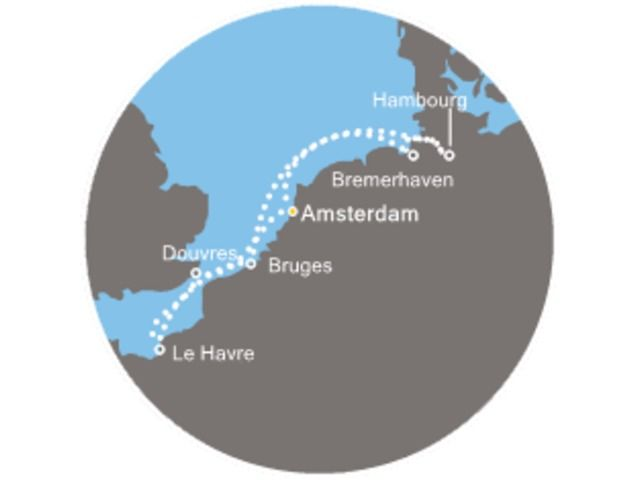 Pays-Bas, Grande-Bretagne, France, Belgique, Allemagne avec le Costa Mediterranea