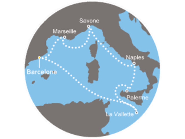 Espagne, Italie, Malta avec le Costa Fascinosa