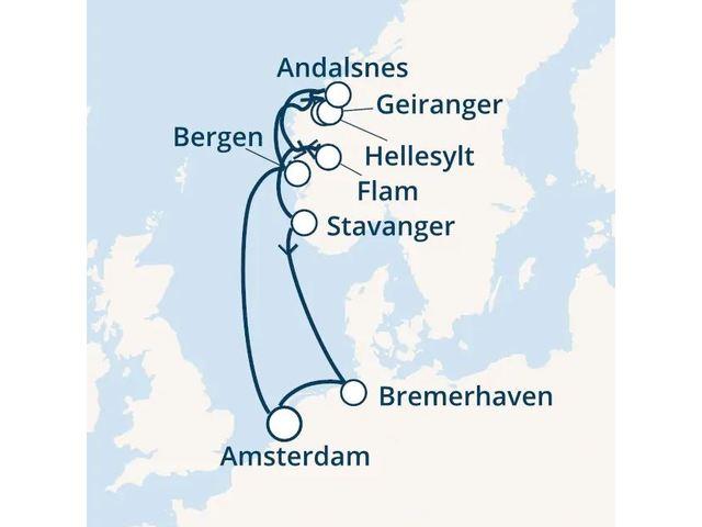 Pays-Bas, Norvège, Allemagne avec le Costa Favolosa