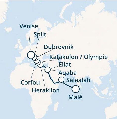 maldives, oman, israël, jordanie, grèce, croatie, italie avec le costa victoria