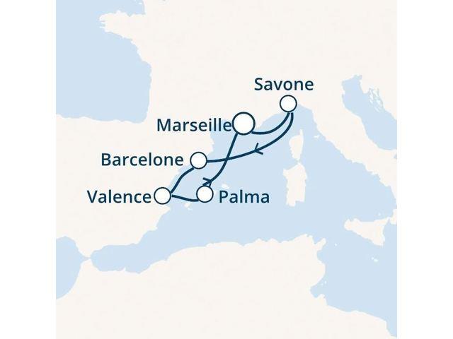 France, Italie, Espagne, Baléares avec le Costa Favolosa