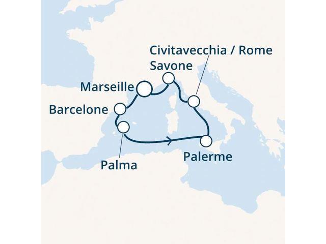 France, Espagne, Baléares, Italie avec le Costa Smeralda