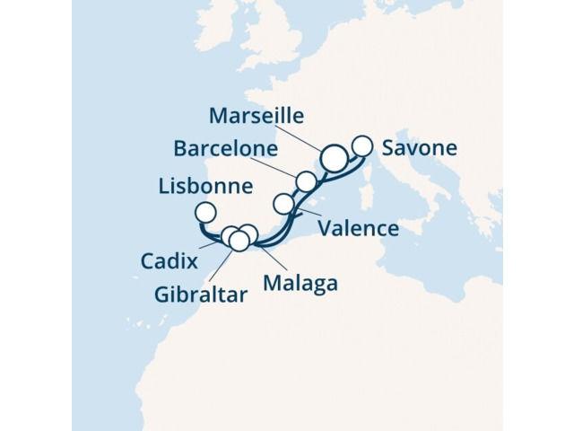 France, Espagne, Portugal, Gibraltar, Italie avec le Costa Fascinosa