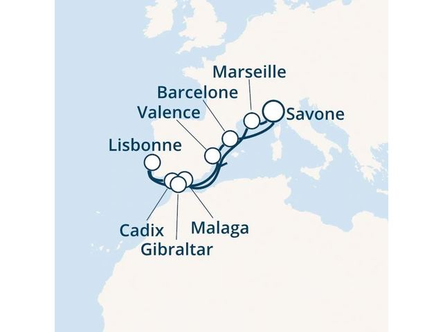 Italie, France, Espagne, Portugal, Gibraltar avec le Costa Fascinosa