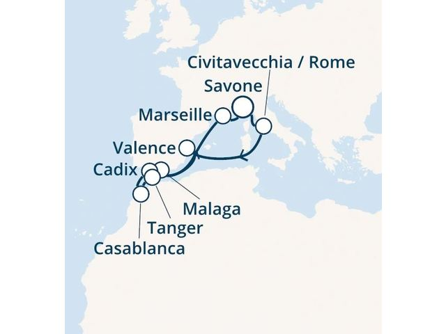 Italie, Espagne, Maroc, France avec le Costa Magica
