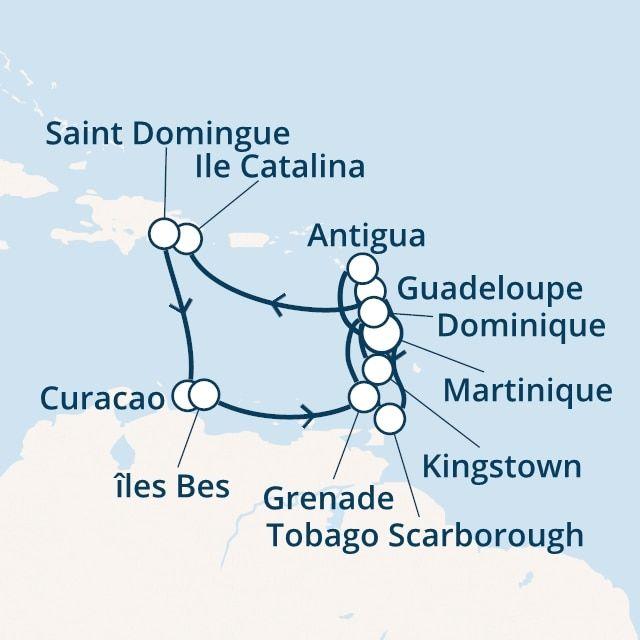 Antilles, Trinité et Tobago, Rép.Dominicaine avec le Costa Favolosa