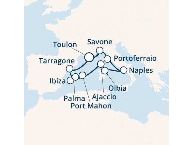 Espagne, Baléares, Corse (France), Italie avec le Costa Victoria
