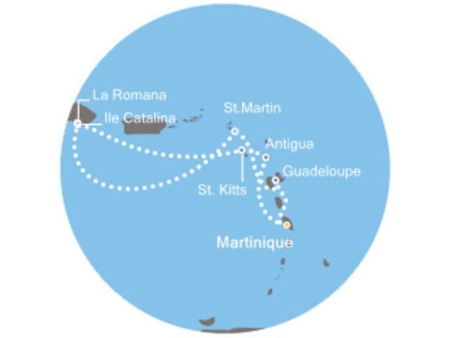 Antigua et Barbuda - Martinique - République Dominicaine - Saint-Christophe-et-Niévès - Saint Martin - Croisière Perles des Caraïbes avec le Costa Pacifica