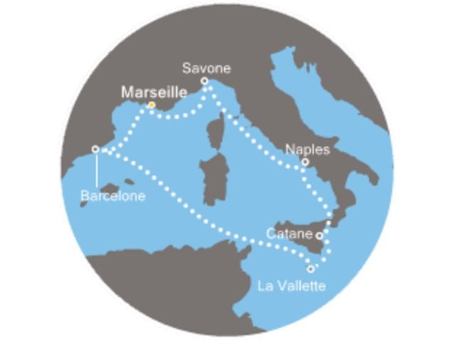 France, Italie, Malte, Espagne avec le Costa Fascinosa