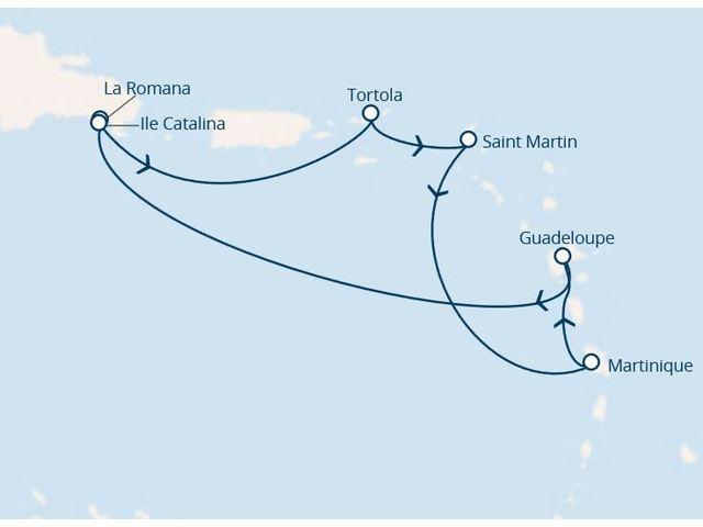 antilles, rép.dominicaine, iles vierges avec le costa favolosa