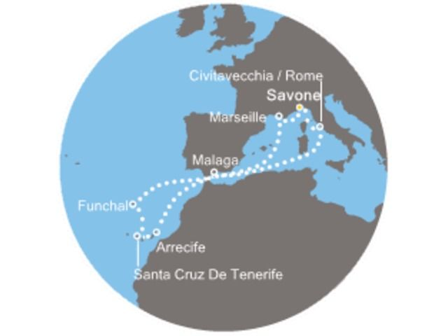 Italie, France, Canaries, Madère, Espagne avec le Costa Favolosa