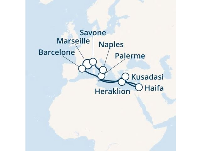 France, Espagne, Grèce, Italie avec le Costa Fortuna