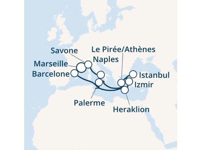 France, Espagne, Grèce, Turquie, Italie avec le Costa Fortuna