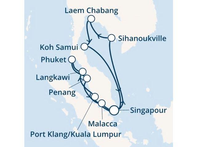 Singapour, Thaïlande, Malaisie avec le Costa Fortuna
