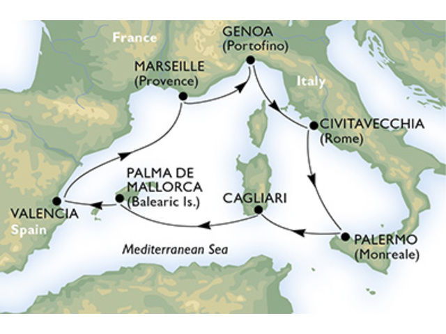 crucero-España, Francia, Italia - 7 noches a bordo del MSC Splendida