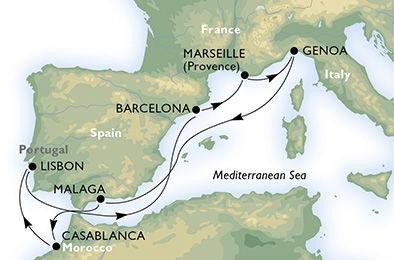 crucero-España, Francia, Italia, Marruecos, Portugal - 9 noches a bordo del MSC Preziosa