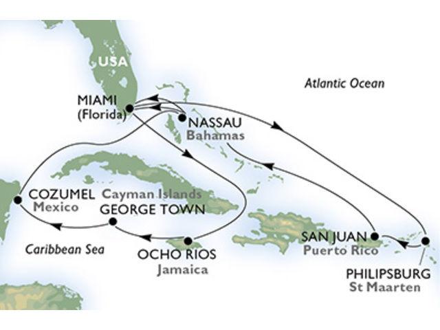 crucero-Estados Unidos, St. Maarten, Puerto Rico, Bahamas, Jamaica, Gran Caimán, México - 14 noches a bordo del MSC Seaside