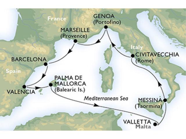crucero-Italia, Francia, España, Malta - 9 noches a bordo del MSC Sinfonia