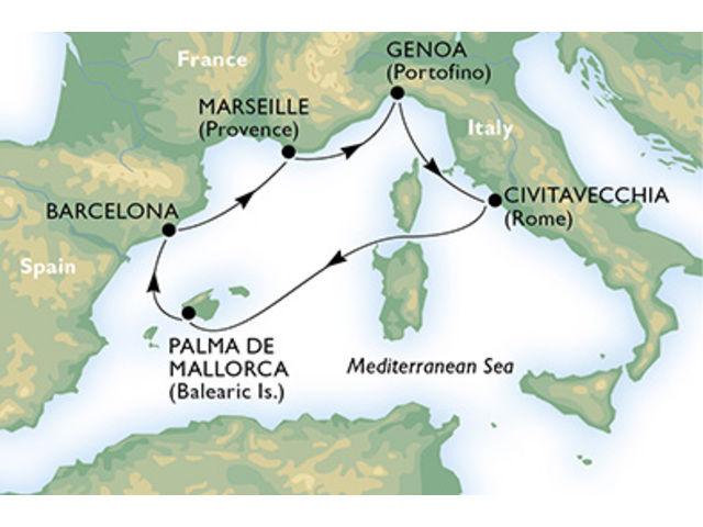 crucero-Italia, España, Francia - 6 noches a bordo del MSC Splendida
