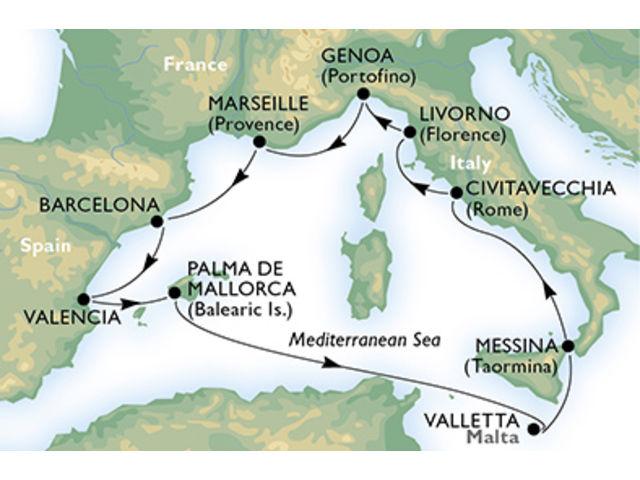 crucero-España, Francia, Italia, Malta - 10 noches a bordo del MSC Orchestra