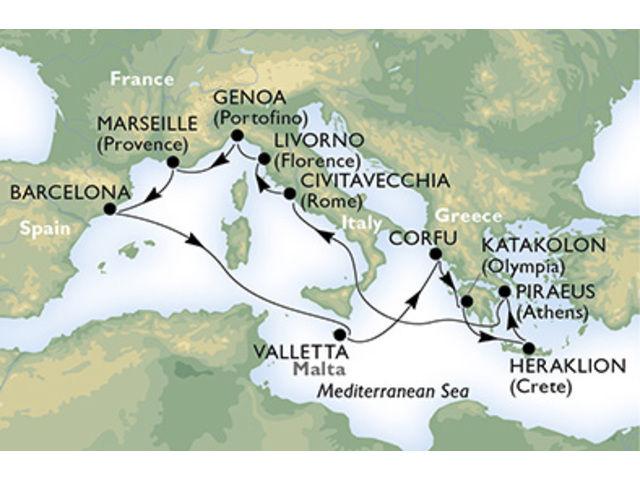 crucero-Italia, Francia, España, Malta, Grecia - 12 noches a bordo del MSC Sinfonia