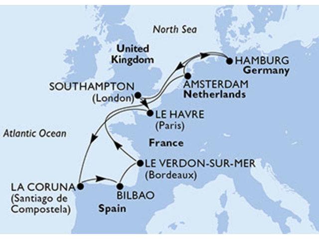 crucero-Alemania, Reino Unido, Francia, España, Holanda - 11 noches a bordo del MSC Magnifica
