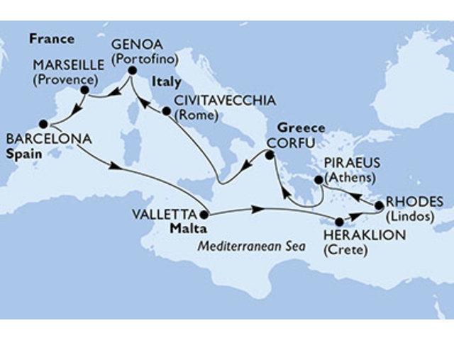 crucero-España, Malta, Grecia, Italia, Francia - 12 noches a bordo del MSC Magnifica