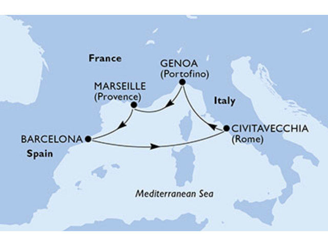 crucero-España, Italia, Francia - 5 noches a bordo del MSC Magnifica