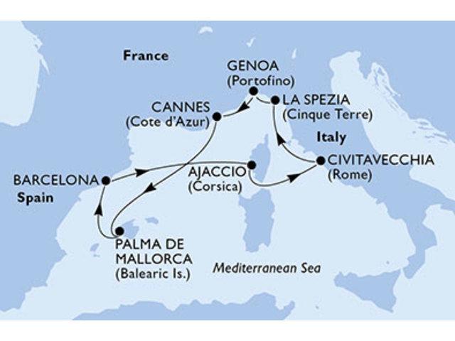 crucero-España, Francia, Italia - 7 noches a bordo del MSC Fantasia