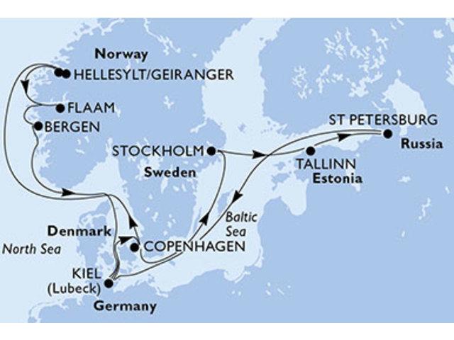 crucero- Alemania, Dinamarca, Suecia, Estonia, Rusia, Noruega - 14 noches a bordo del MSC Preziosa
