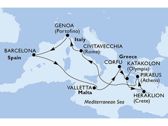 crucero-España, Malta, Grecia, Italia - 10 noches a bordo del MSC Orchestra