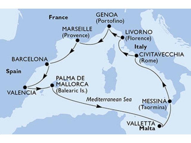 crucero-España, Malta, Italia, Francia - 10 noches a bordo del MSC Sinfonia