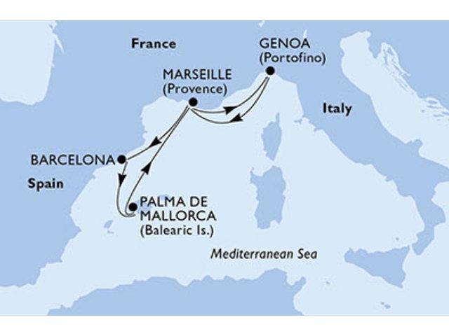 crucero-España, Francia, Italia - 6 noches a bordo del MSC Preziosa