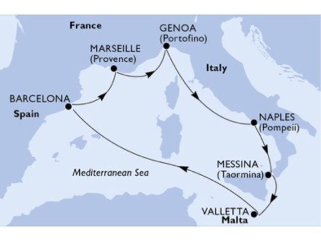crucero-España, Francia, Italia, Malta - 7 noches a bordo del MSC Bellissima