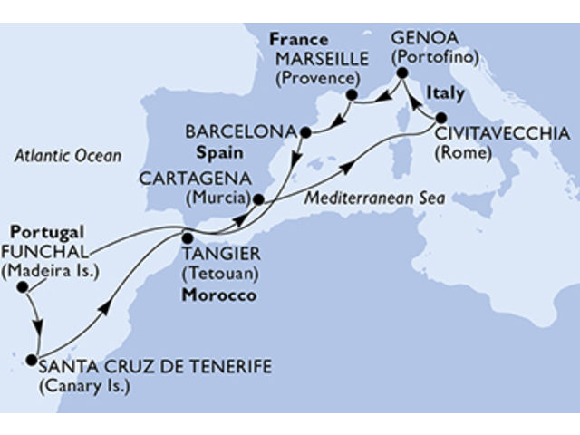 crucero-España, Portugal, Marruecos, Italia, Francia - 12 noches a bordo del MSC Sinfonia