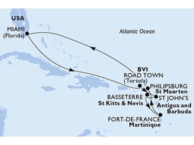 crucero-Estados Unidos, Islas Vírgenes (Británicas), Antigua y Barbuda, St. Kitts, Martinica, St. Maarten - 11 noches a bordo del MSC Divina