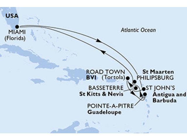 crucero-Estados Unidos, Antigua y Barbuda, St. Kitts, Islas Vírgenes (Británicas), Guadalupe, St. Maarten - 10 noches a bordo del MSC Divina