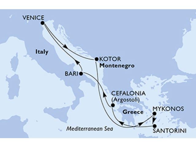 crucero-Italia, Montenegro, Grecia - 7 noches a bordo del MSC Opera