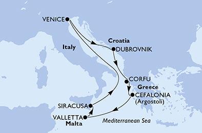 crucero-Italia, Croacia, Grecia, Malta - 7 noches a bordo del MSC Lirica